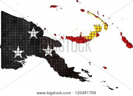 Papua New Guinea Map With Flag Inside.eps