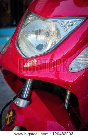 Front of motor bike and headlight
