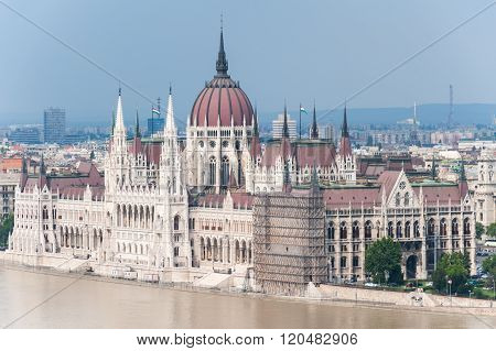 Overflowed Danube At Budapest Parliament