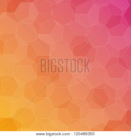 Abstract Pink-orange Background With Hexagons