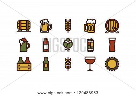 Line beer icons. Color. Stock vector.