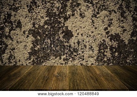 Wall Texture Surface Vintage Style With Wood Terrace