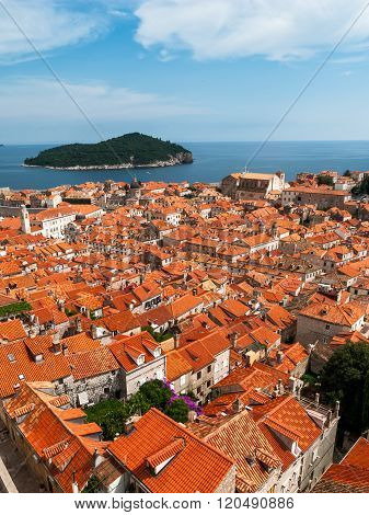 Dubrovnik City View With Tower And Island