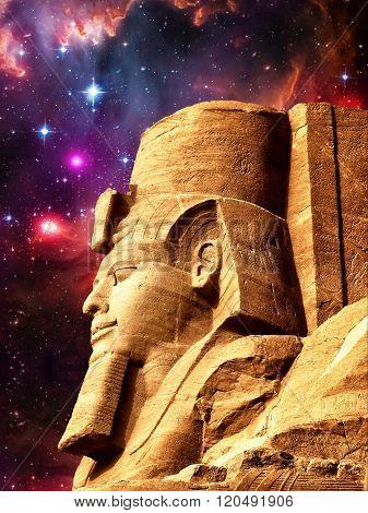 Statue Of Ramses Ii In Abu Simbel And Small Magellanic Cloud (el
