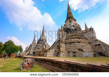 Ayutthaya Historical Park (Wat Phrasisanpetch temple), Ayutthaya, Thailand.