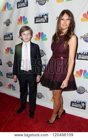 NEW YORK-FEB 16: Barron Trump (L) and Melania Trump attend 'The Celebrity Apprentice' finale at Trump Tower on February 16, 2015 in New York City.