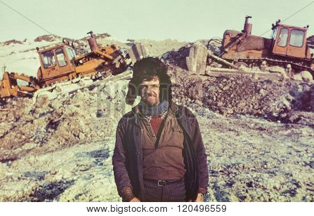 Portrait of young soviet gold-prospector