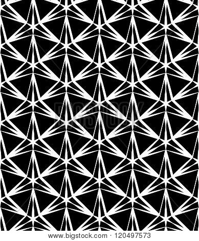 Vector modern seamless geometry pattern three point star black and white abstract