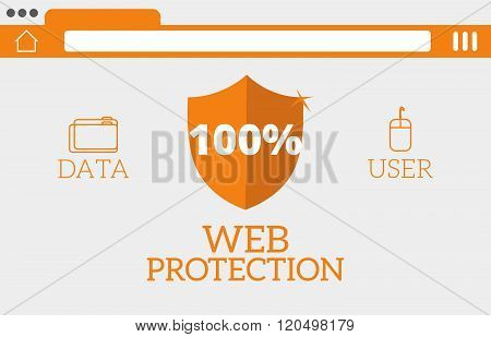 Flat website online safety, data protection, secure connection, cryptography, antivirus, firewall, cloud file exchange, internet security infographic concept vector. Browser protection