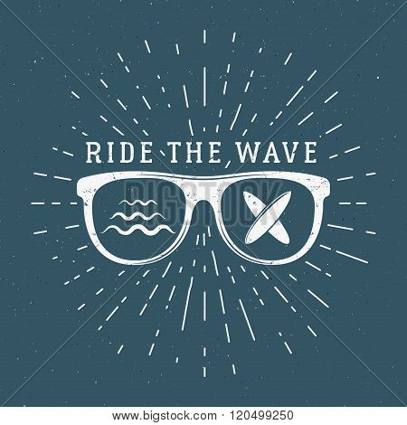Vintage Surfing Graphics and Emblem for web design or print. Surfer, beach style logo design. Glass
