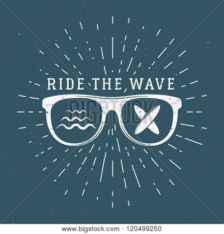 Vintage Surfing Graphics and Emblem for web design or print. Surfer, beach style logo design. Glass