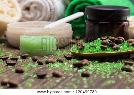 Spa And Cellulite Busting Products On Wooden Surface