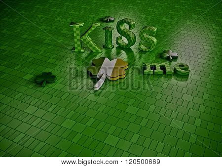Kiss Me. St. Patrick Day Backdrop