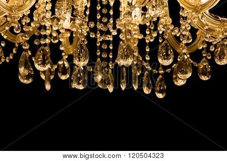 Gallant Chandelier With Black Background And Bottom Copyspace
