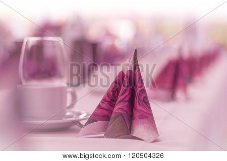 Beautiful Napkins On A Table From Service Catering