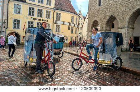 Tallinn, Estonia - July 30, 2015: Town Hall Square after rain.