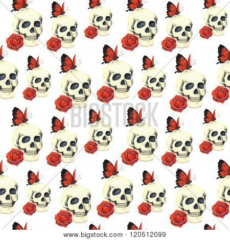 Pattern with skull, red rose and red butterfly on white background