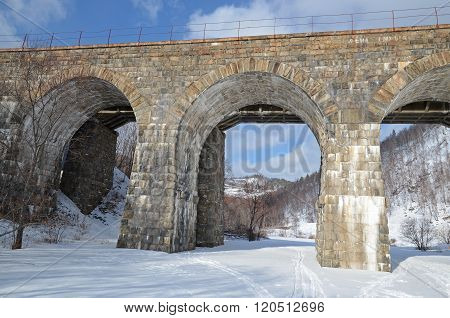 One of the viaducts of Circum-Baikal Railway in winter