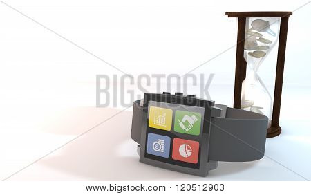 3D Smart Watch About Business With Coins Hourgrass