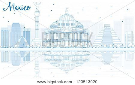 Outline Mexico skyline with blue buildings and reflections. Business travel and tourism concept with place for text. Image for presentation, banner, placard and web site.