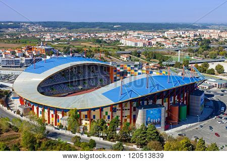 Leiria, Portugal - October 12, 2015: Dr. Magalhaes Pessoa Stadium, also known as Leiria Municipal Soccer Stadium seen from the castle.