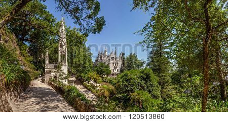 Sintra, Portugal - July 14, 2015: Chapel in the Regaleira Palace and Gardens. A neo-manueline palace decorated with alchemy and freemasons symbols.
