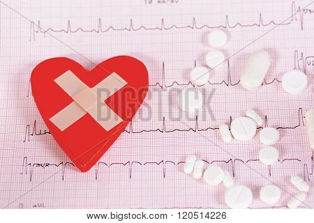 Heart Cardiogram And Medical Pills