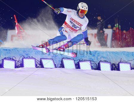 STOCKHOLM SWEDEN - FEB 23 2016: Mattias Hargin (SWE) making a spectacular jumpi at the FIS Alpine Ski World Cup - city event February 23 2016 Stockholm Sweden