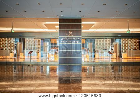 DUBAI, UAE - APRIL 18, 2014: entryway to Emirates first class lounge at Dubai International Airport, major airline hub in the Middle East, and the main airport of Dubai.