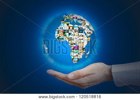 Television Broadcast Multimedia Sphere. World Globe On Hand