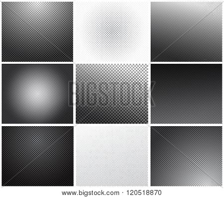 Set of transparency grid. Vector backgrounds