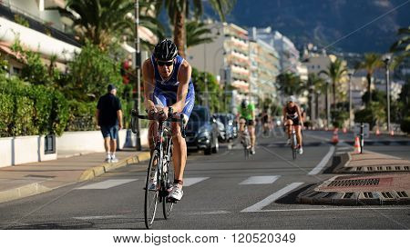 Rider Ahead In Blue Helmet