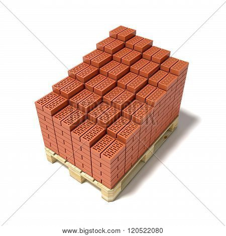 Euro pallet and cascade arranged ceramic bricks. 3D render illustration isolated on white background