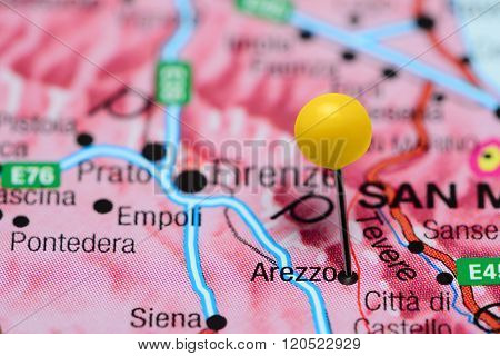 Arezzo pinned on a map of Italy
