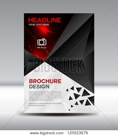 Black Vector Brochure Flyer Magazine And Leaflet Design On Polygon Background