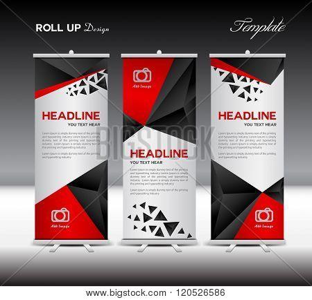 Black Roll Up Banner Template Vector Illustration Polygon Background