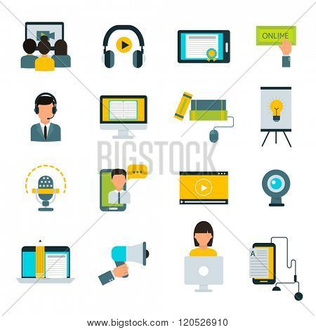 Webinar online education flat icons vector set of distance education and webinar education.Online education icons set with virtual webinar online education.Flat design icons webinar online education