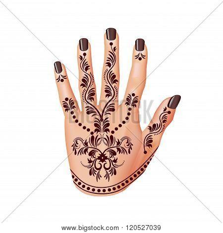 Mehendi On Woman Hand Isolated Vector
