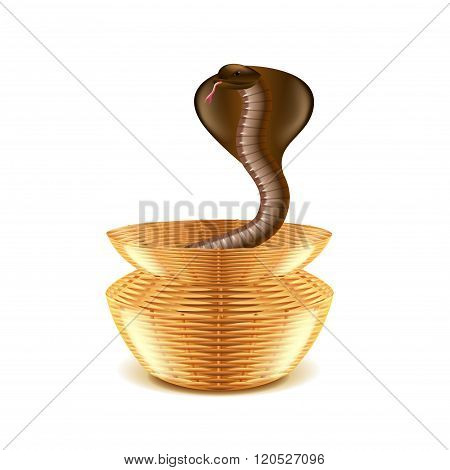 Snake In Basket Isolated On White Vector