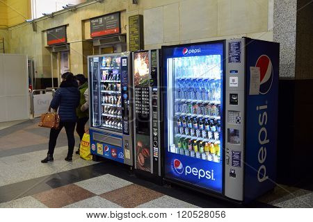 Moscow, Russia -February 18.2016. A vending machine for drinks  Pepsi and products at the Kazansky station