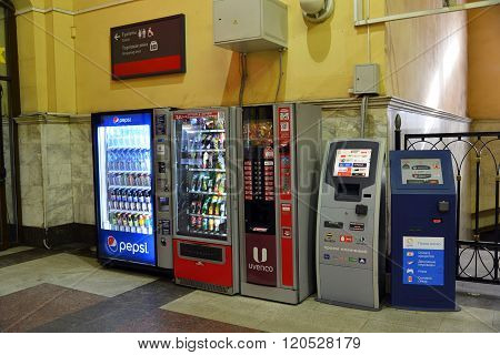 Moscow, Russia -February 18.2016. A Vending machines for drinks, coffee and payment terminals at the Kazansky station