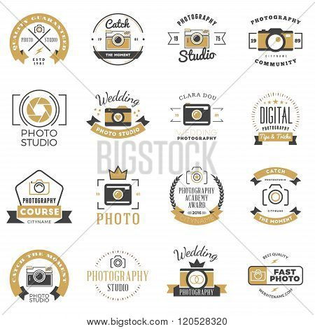 Set of Photography Logo Design Templates. Photography Retro Badges and Labels. Black and Golden Colors. Wedding Photography. Photo Studio. Camera Shop. Photography Community poster