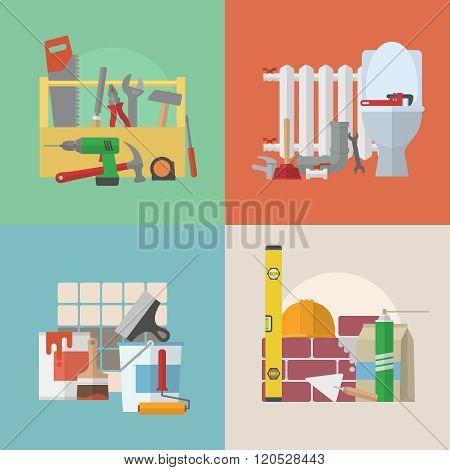 Set of home remodeling labels