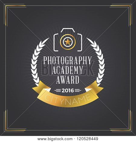 Photography Logo Design Template. Photography Retro Golden Badge. Photography Academy Award