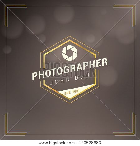 Photography Logo Design Template. Photography Retro Golden Badge. Photographer Logotype