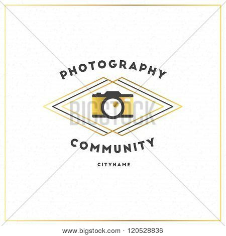 Photography Logo Design Template. Photography Retro Golden Badge. Photo Studio. Camera Shop. Photogr