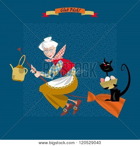 An Elderly Woman On A Broomstick With A Cat And A Kettle. Scandinavian Easter. Glad Pask!