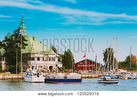 Harbour And Quay Yacht Stand At Pier, Jetty In Summer Day neat H