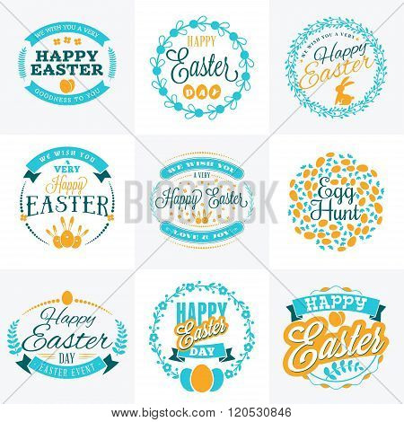 Set Of Vector Happy Easter Label Elements. Vintage Holiday Badges. Vector Templates For Greeting Car