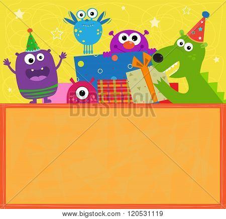 Monsters Birthday Banner